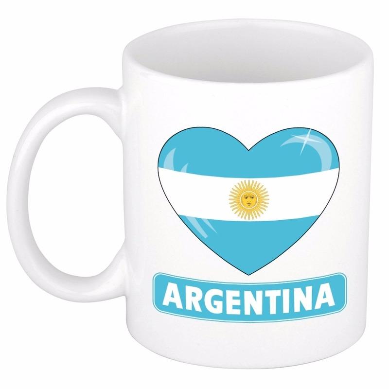 Argentijnse vlag hartje koffiemok 300 ml