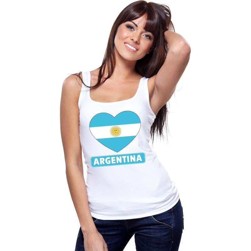 Argentijnse vlag in hartje singlet wit dames