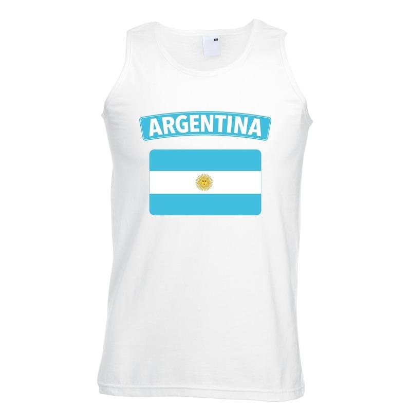 Argentijnse vlag singlet wit heren