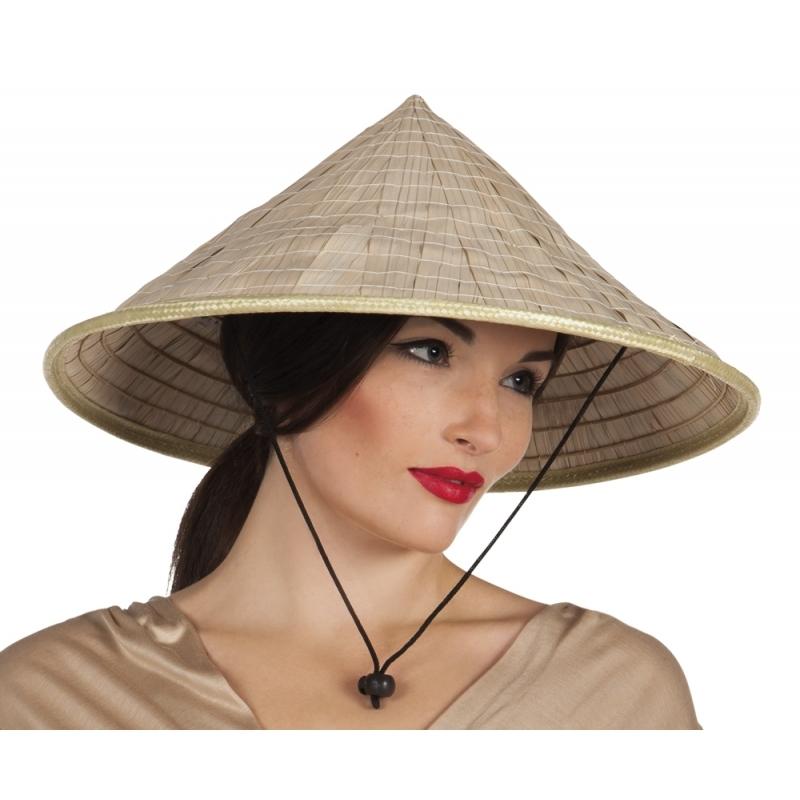 Aziatische stro hoed met punt