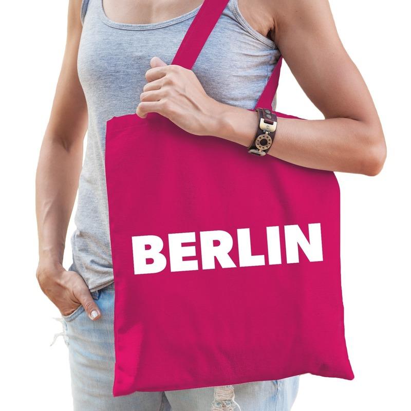 Berlijn kado tas roze katoen