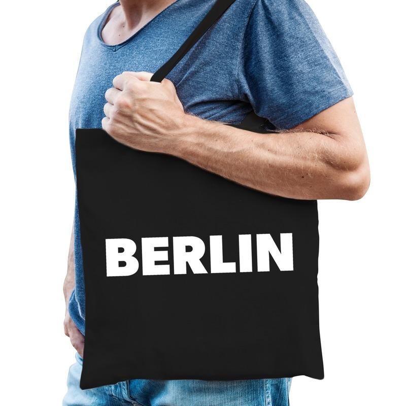 Berlijn kado tas zwart katoen