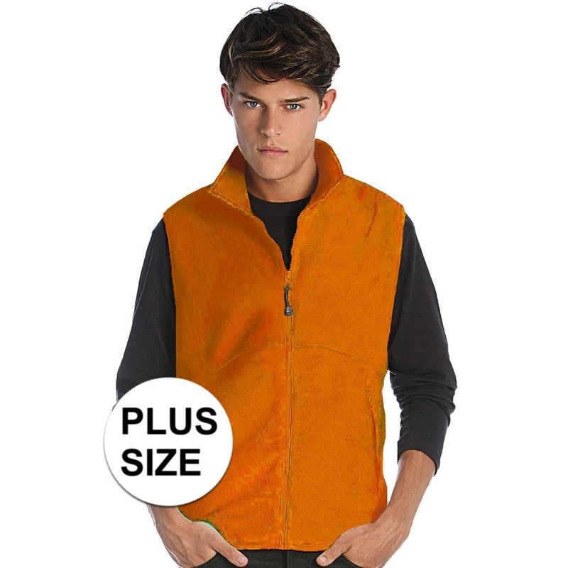 Big size fleece bodywarmer werkkleding oranje voor heren