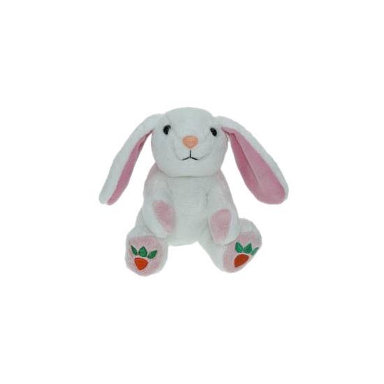 Bosdieren knuffels konijntje-haasje wit 14 cm