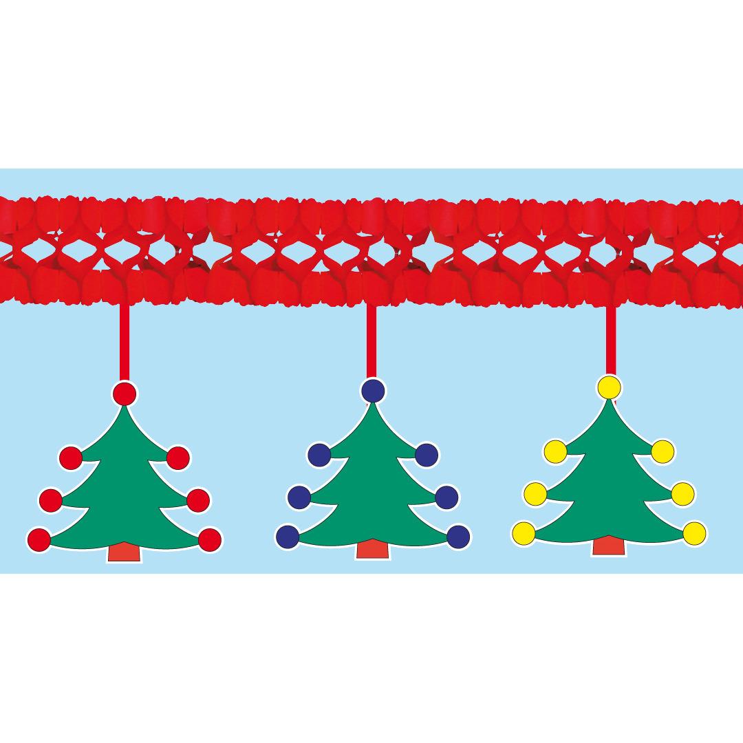 Brandvertragende slinger met kerstbomen 4 meter