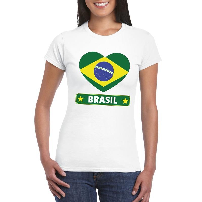 Braziliaanse vlag in hartje shirt wit dames