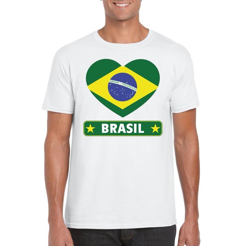 Braziliaanse vlag in hartje shirt wit heren
