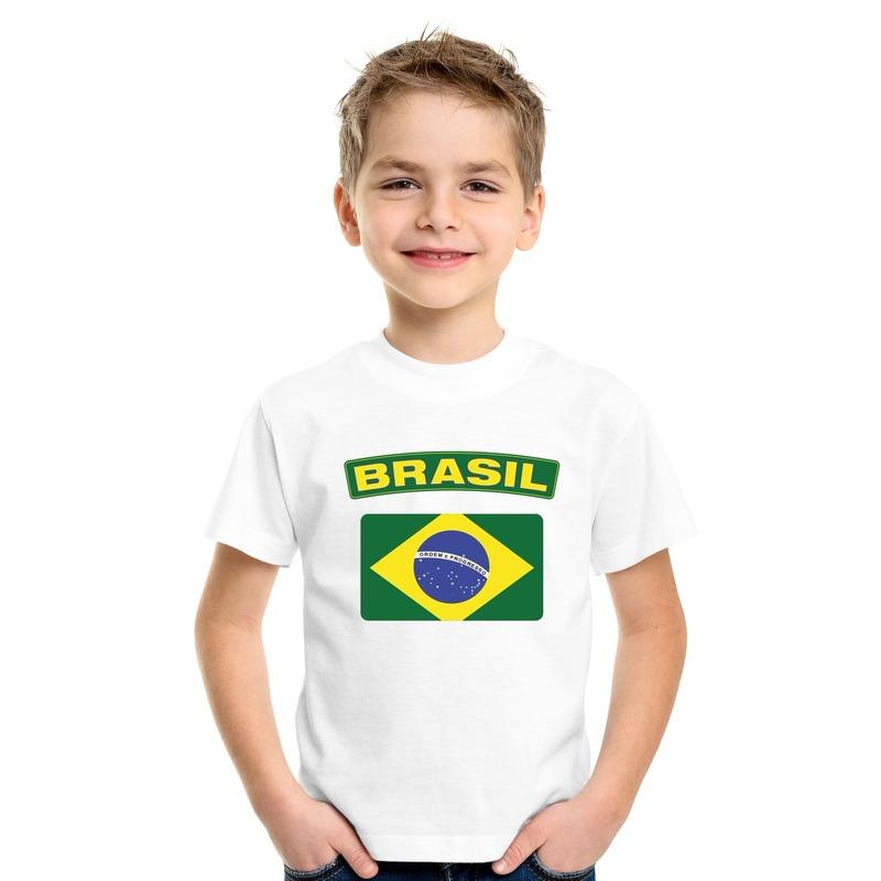 Braziliaanse vlag kinder shirt wit