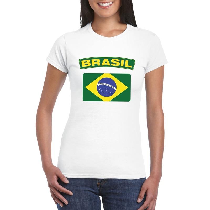 Braziliaanse vlag shirt wit dames