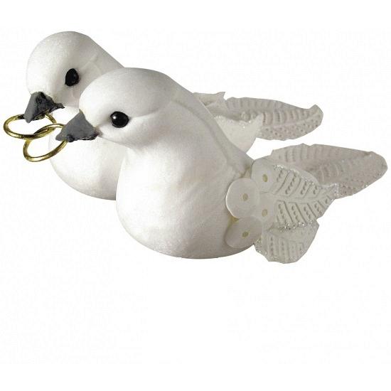 Decoratie duiven wit met pailletten 5,5 cm