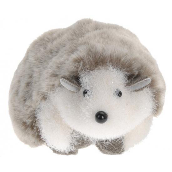 Decoratie egel grijs wit 18 cm
