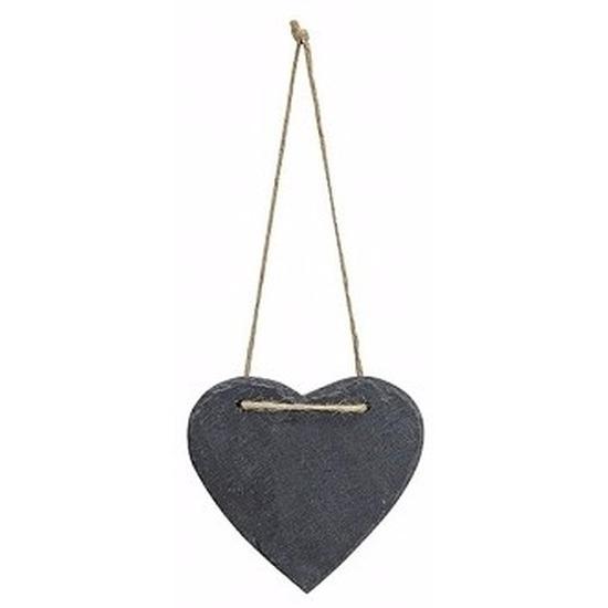 Decoratie hart 12 cm van leisteen