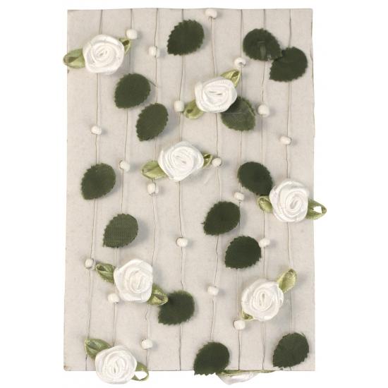 Decoratie rozen slinger wit 2 meter