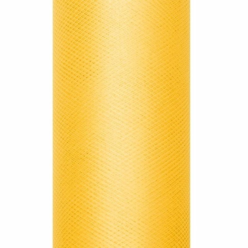 Decoratiestof tule geel 15 cm breed
