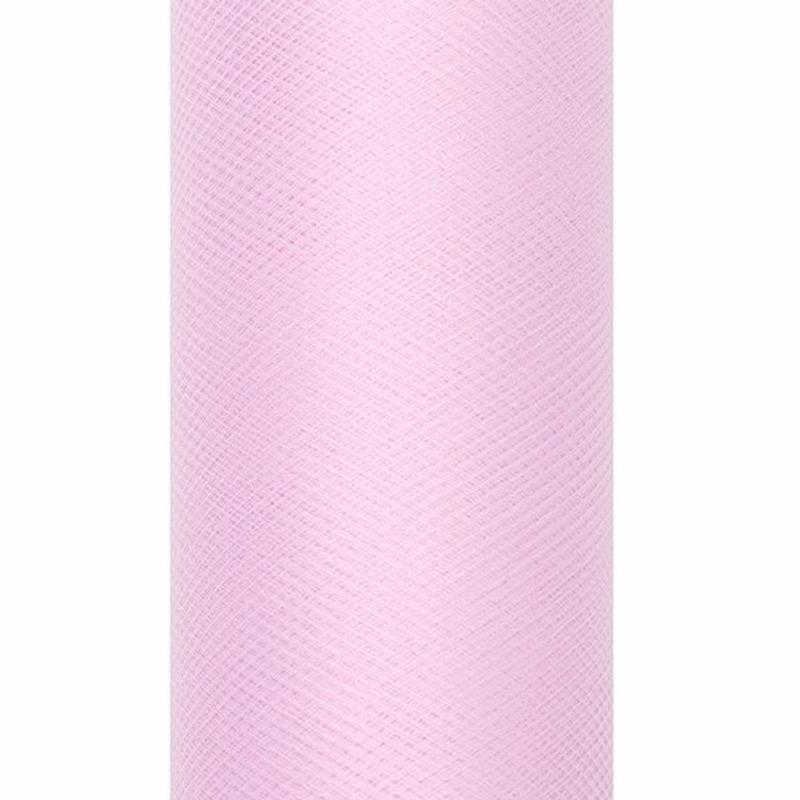 Decoratiestof tule lichtroze 15 cm breed