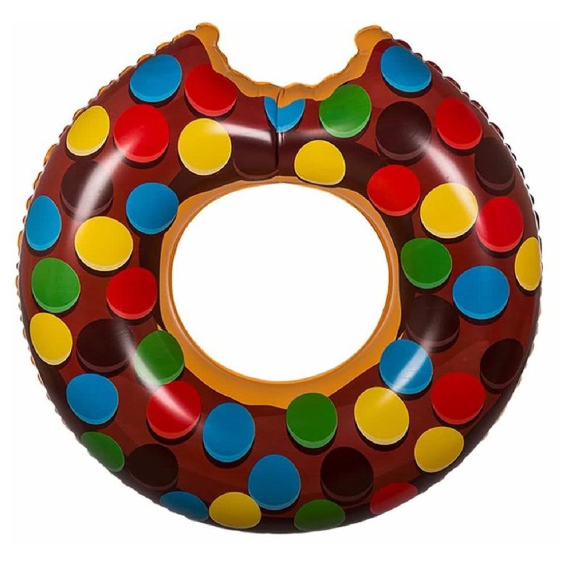 Donut zwemring bruin met spikkels 119 cm