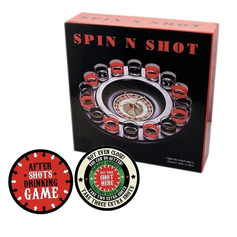 Drank spelletjes roulette met plaats je shotglas viltjes