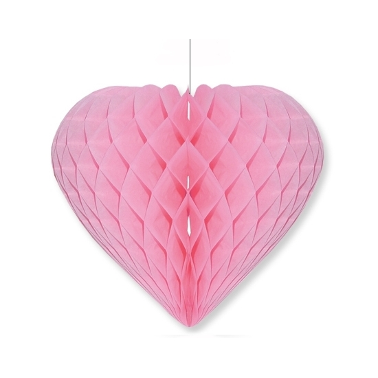 Etalage decoratie hart lichtroze 15 x 18 cm