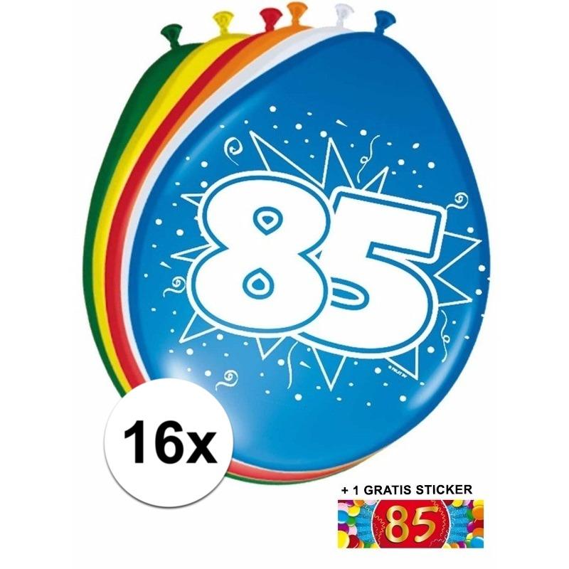 Feestartikelen 85 jaar ballonnen 16x + sticker