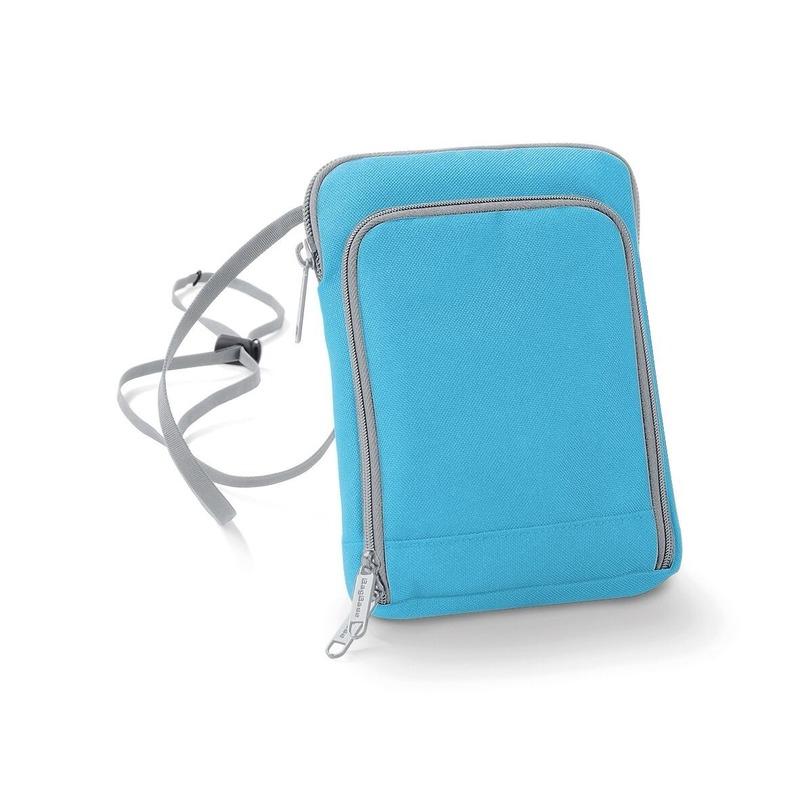 Fel blauw paspoorttasje 19 cm