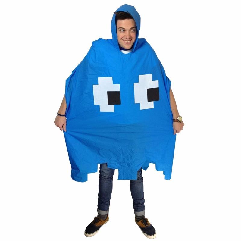 Festival poncho Pacmanm spookje blauw