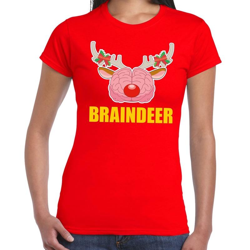 Foute Kerst t-shirt braindeer rood voor dames
