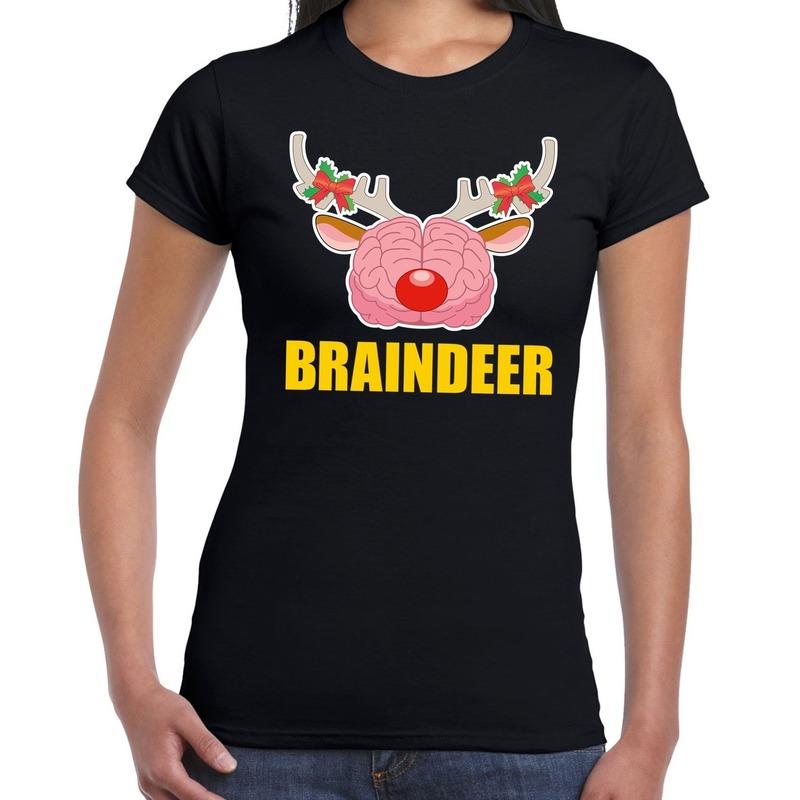 Foute Kerst t-shirt braindeer zwart voor dames