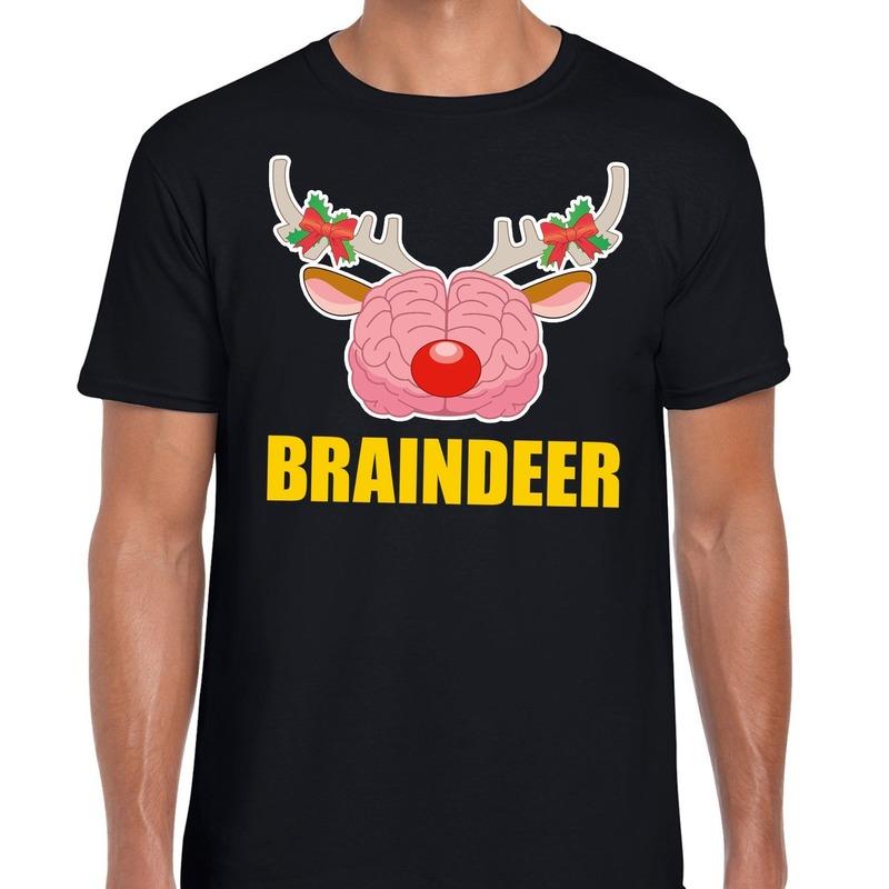 Foute Kerst t-shirt braindeer zwart voor heren