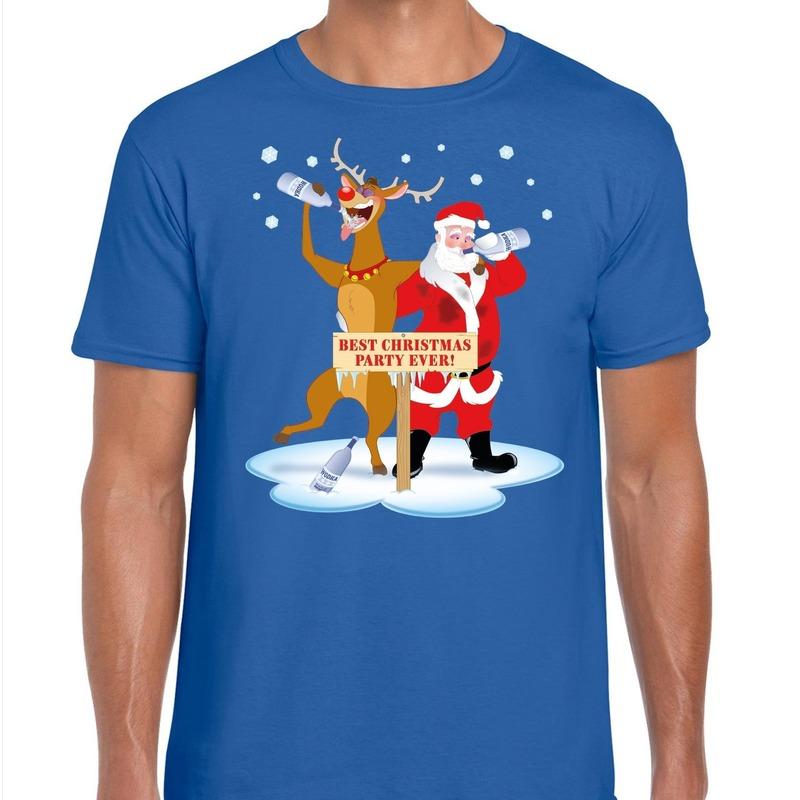 Foute Kerst t-shirt dronken kerstman en Rudolf blauw heren