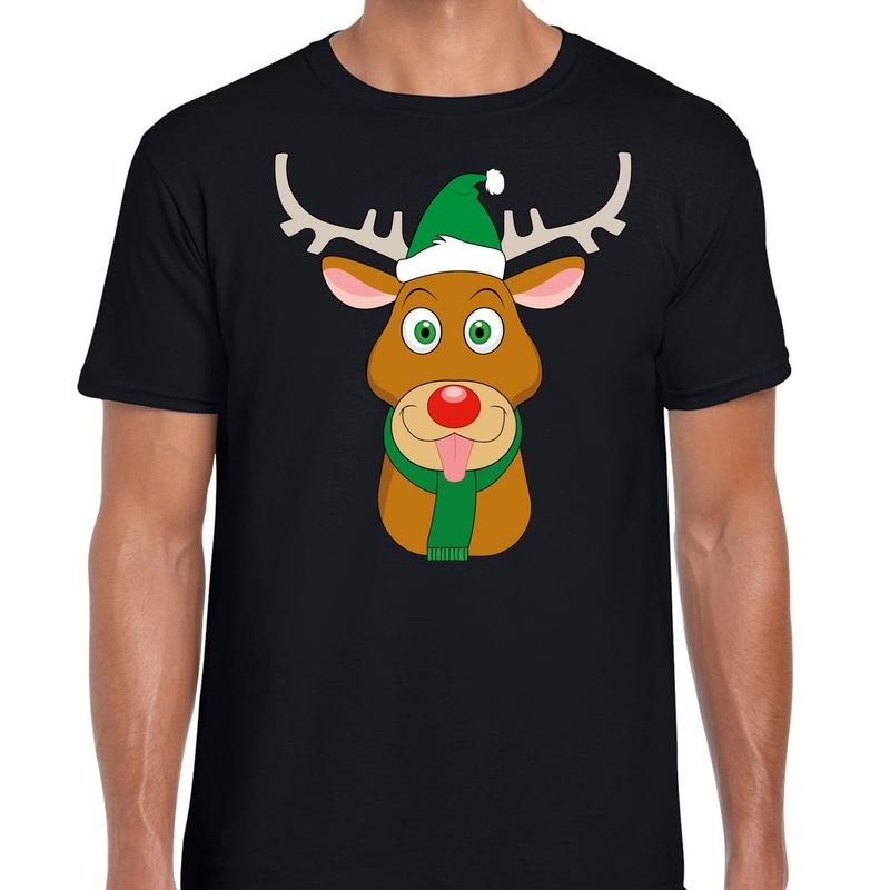 Foute Kerst t-shirt rendier Rudolf groene kerstmuts zwart heren