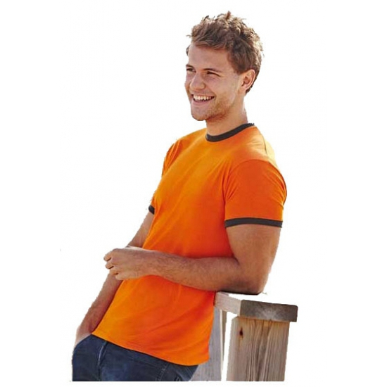 Fruit of the Loom heren ringer shirts oranje