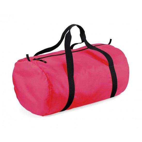 Fuchsia neon roze ronde polyester sporttas/weekendtas 32 liter