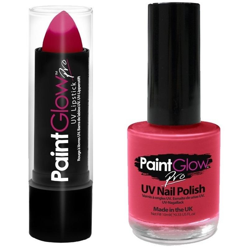 Gay Pride roze UV lippenstift-lipstick en nagellak schmink set