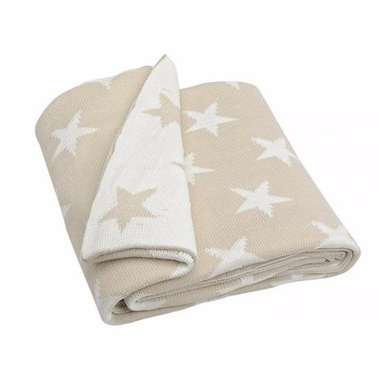 Gebreide deken/plaid beige met sterren 152 cm