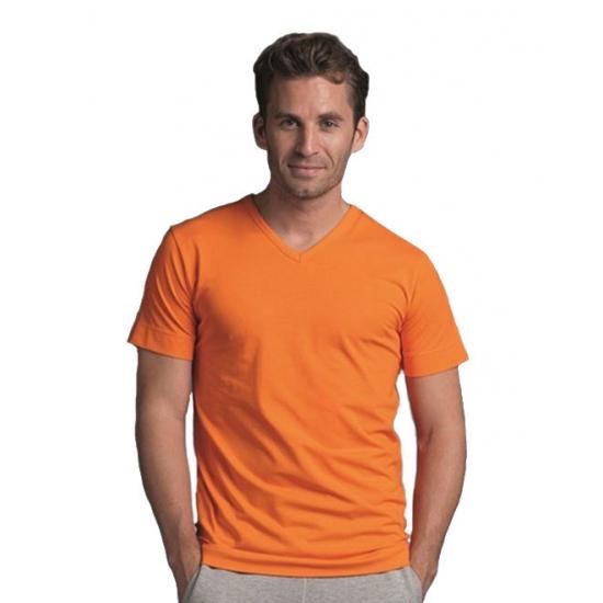 Gekleurd oranje V-hals T-shirt voor heren