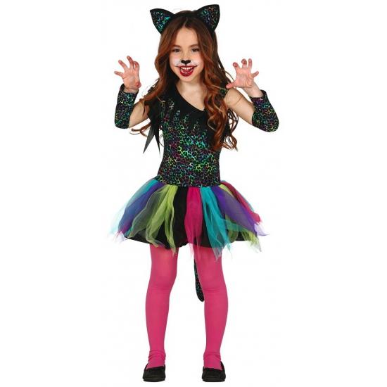 Gekleurde katten halloween outfit voor kinderen