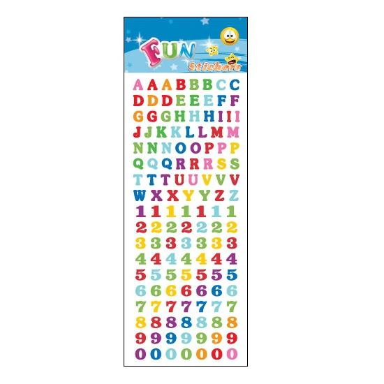 Gekleurde letters en cijfers stickervelletje agenda