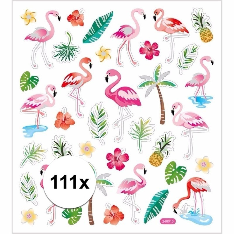 Gekleurde tropische stickers 111 stuks