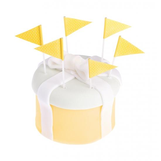 Gele cocktailprikkers 10 cm