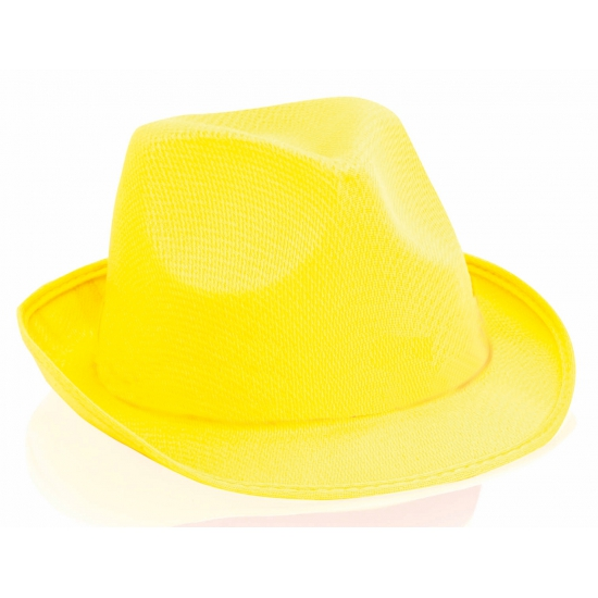 Gele trilby hoeden