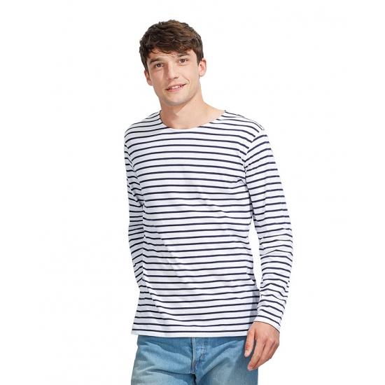 Gestreepte shirts voor heren wit/blauw