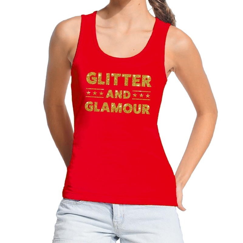 Glitter and Glamour glitter tanktop / mouwloos shirt rood dames