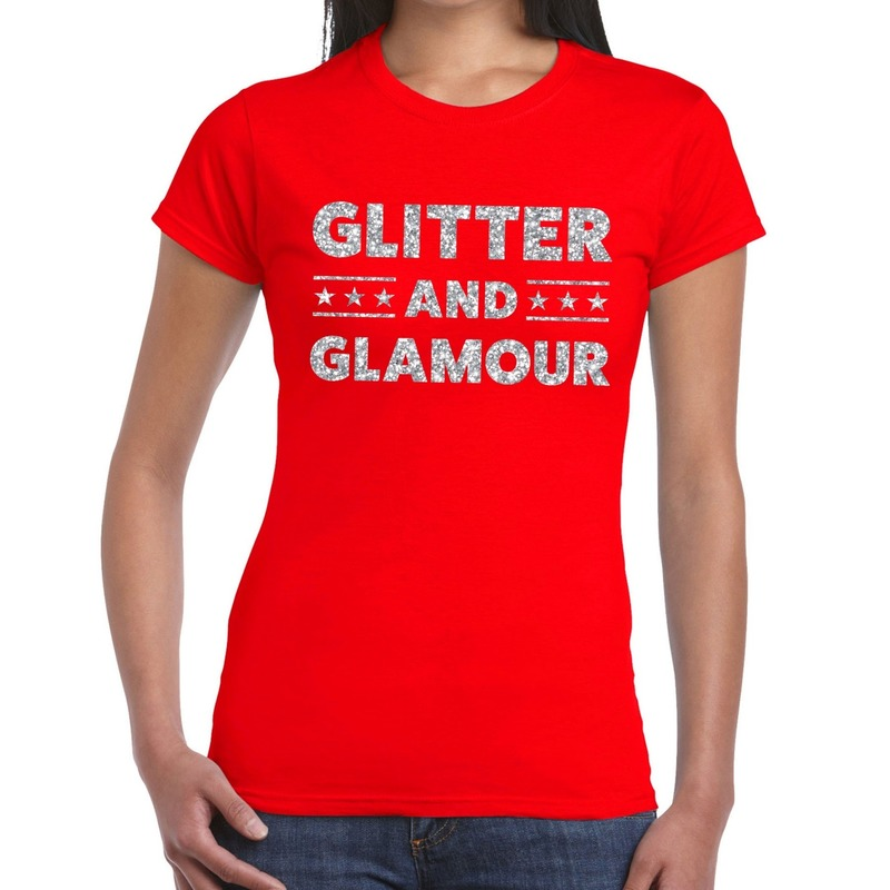Glitter and Glamour zilver glitter tekst t-shirt rood dames