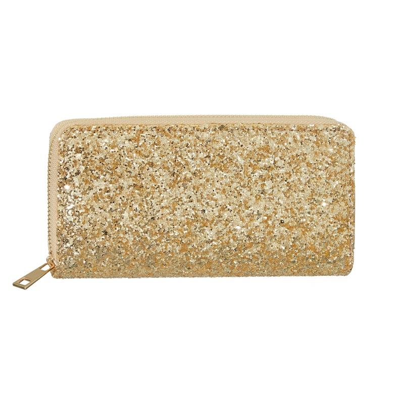 Gouden glitter portemonnee voor dames 19 cm