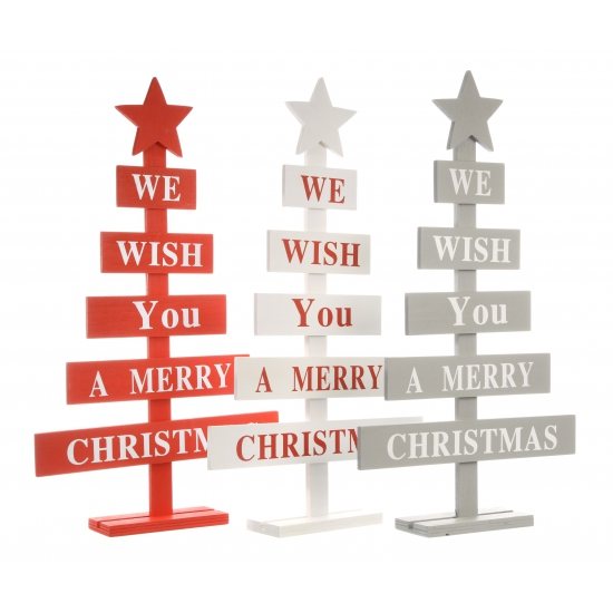 Grijze kerstboom raamdecoratie Merry Christmas 51 cm