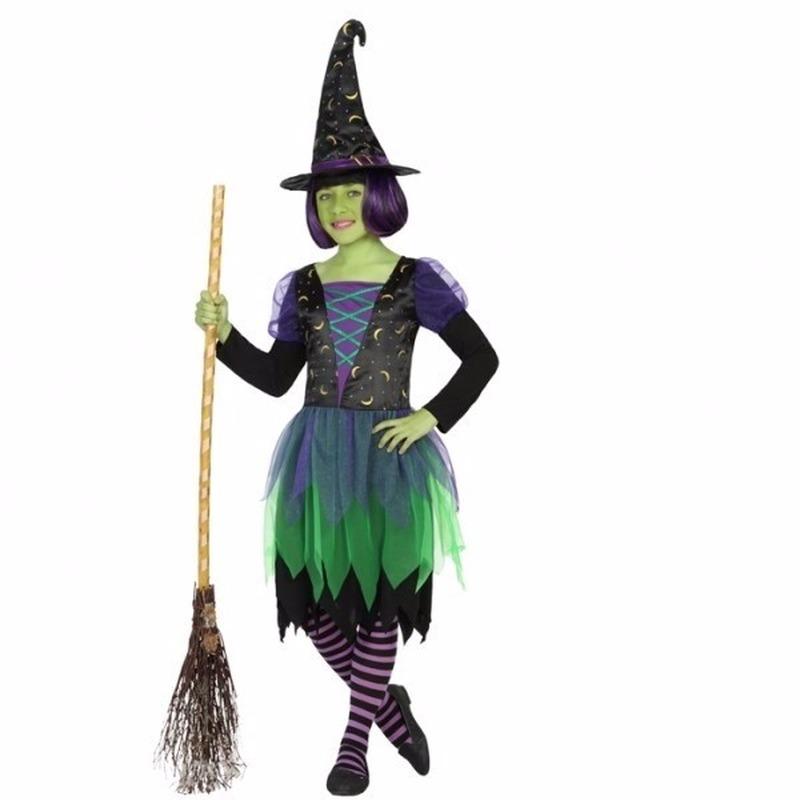 Halloween kleding heksenjurk groen voor meiden