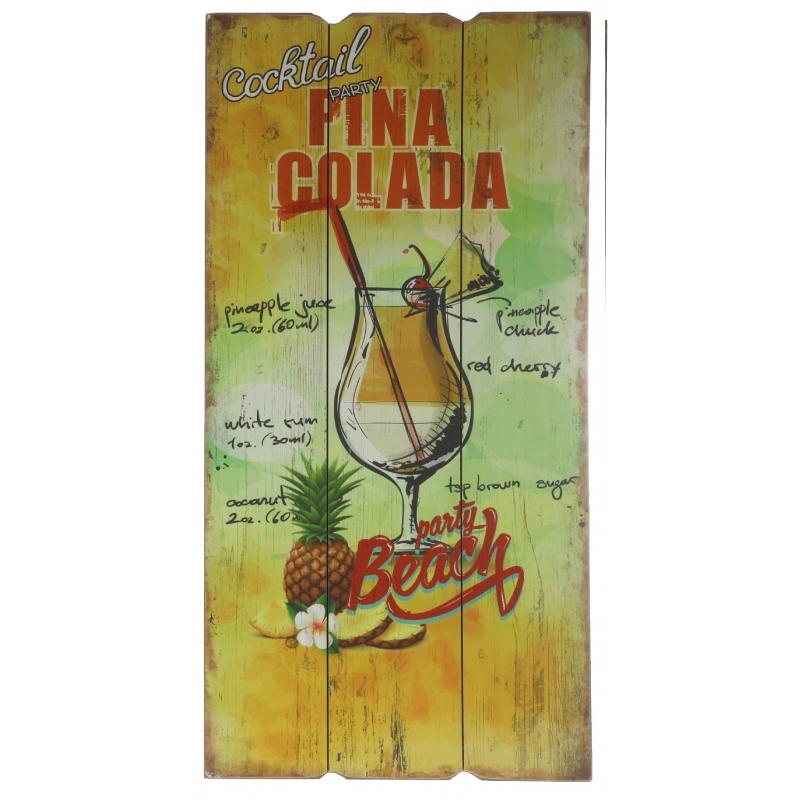Hawaii wandversiering bordje Pina Colada