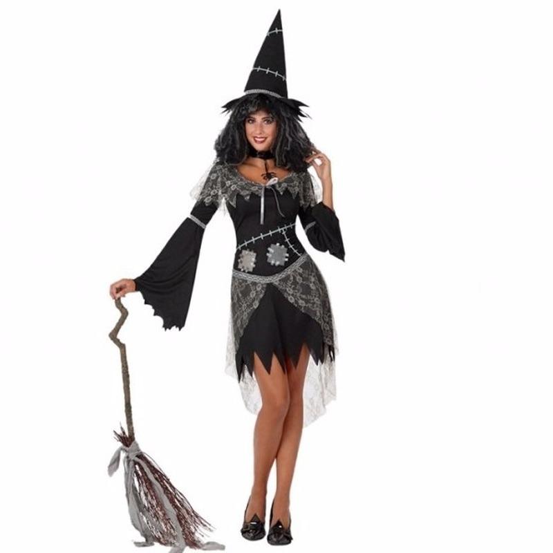 Heksen kleding zwart jurkje dames