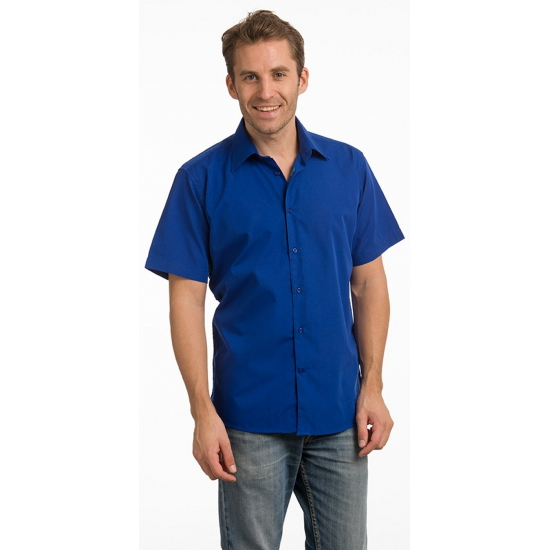 Heren overhemd blauw van L&S korte mouw