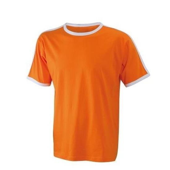 Heren tshirts oranje met wit randen